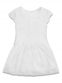 Детска официална рокля с дантелен корсаж 'Снежинка'